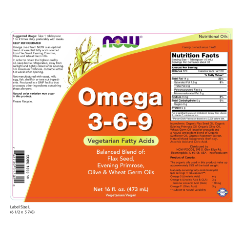 NOW FOODS -Omega 3-6-9 - 16 fl. oz.