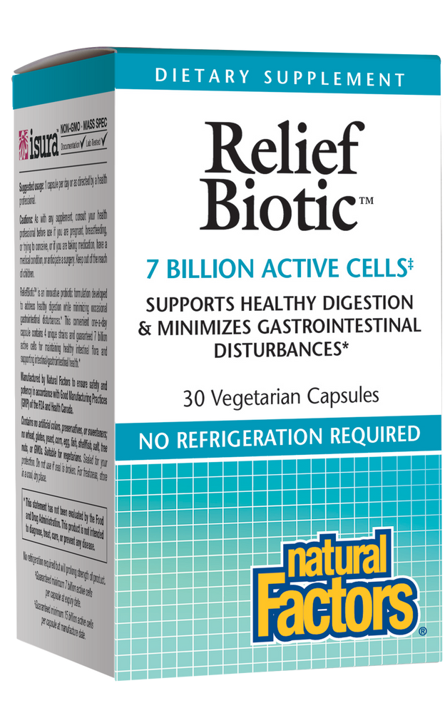 Natural Factors-ReliefBiotic™ 7 Billion Active Cells 30 VCAP