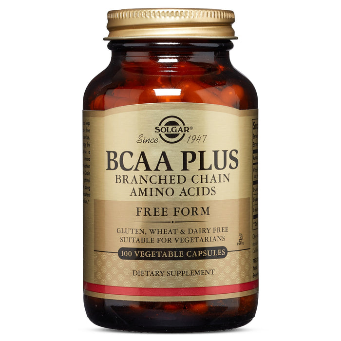 solgar bcaa plus vegetable capsules branched chain amino acids 100