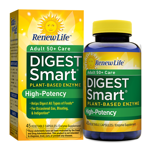 Renew Life - Digest Smart Adult 50+ Care, Enzyme Supplement - 45 Vegetable Capsules