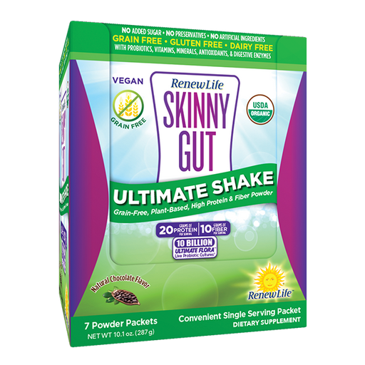 Renew Life - Skinny Gut Ultimate Shake, Chocolate, 1.4 Ounces, 7 Count