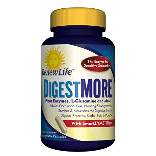 Renew Life - DigestMore - Gas, Bloating, and Digestive Relief - Enzyme Supplement - 135 Vegetable Capsules