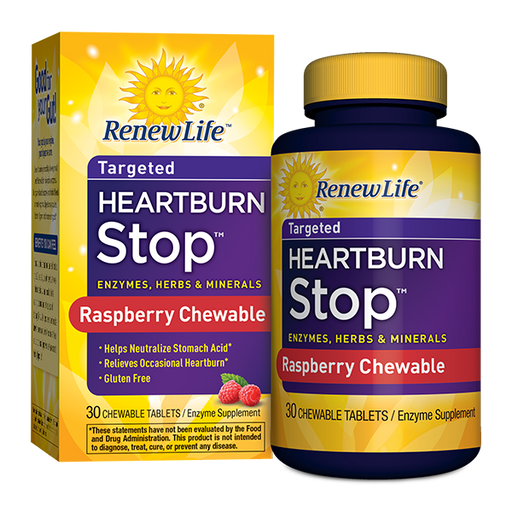 Renew Life -  Adult Digestive Enzyme - Heartburn Stop, Enzyme Supplement - Raspberry Flavor, 30 Tablets