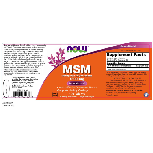 NOW FOODS -MSM 1500 mg - 100 Tablets