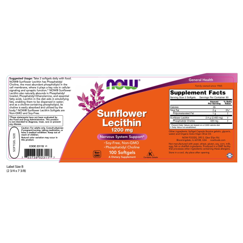 NOW FOODS -Sunflower Lecithin 1200 mg Soy-Free, Non-GMO - 100 Softgels