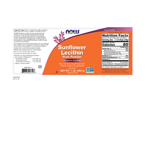 NOW FOODS -Sunflower Lecithin Pure Powder - 1 lb.