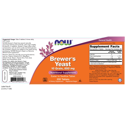 NOW FOODS -Brewer's Yeast 650 mg - 200 Tablets