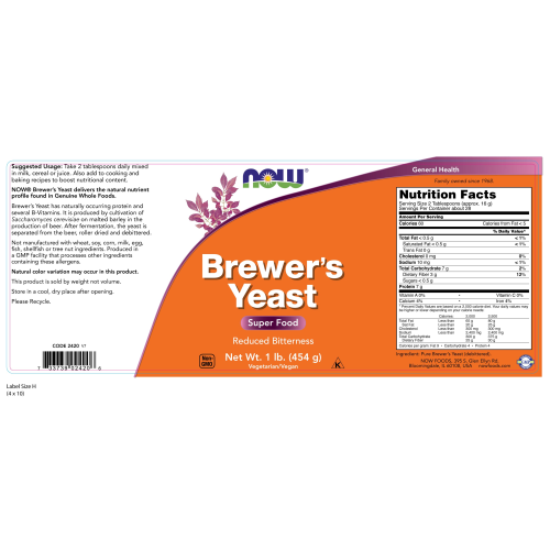 NOW FOODS -Brewer's Yeast Powder - 1 lb.