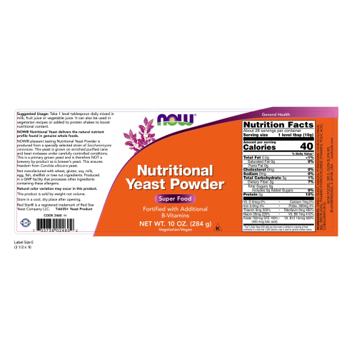 NOW FOODS -Nutritional Yeast Powder - 10 oz.