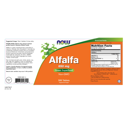 NOW FOODS -Alfalfa 650 mg - 500 Tablets