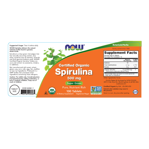NOW FOODS -Spirulina 500 mg, Organic - 100 Tablets