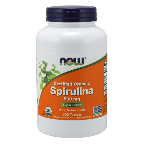 NOW FOODS -Spirulina 500 mg, Organic - 500 Tablets