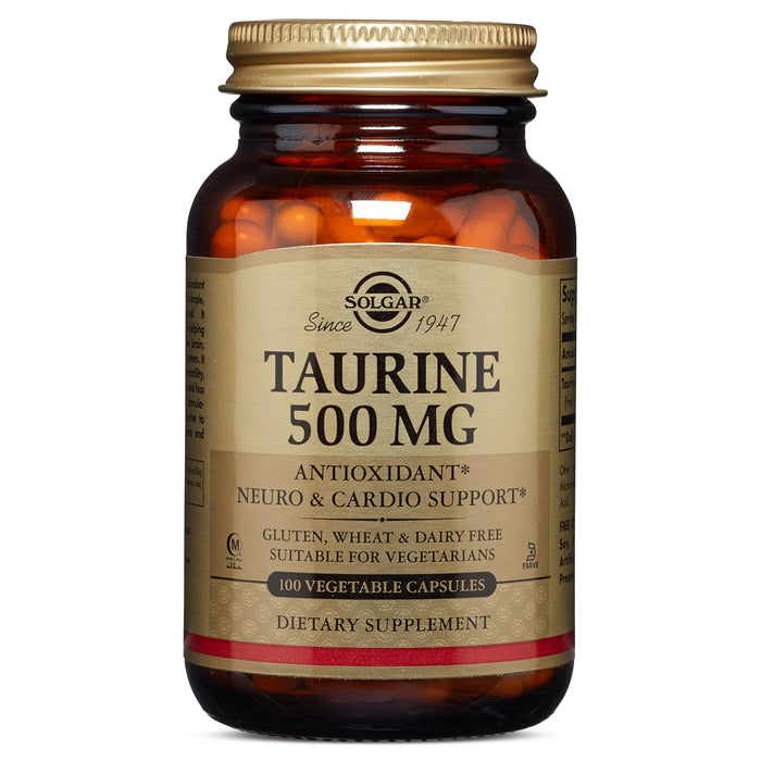 Solgar- Taurine 500 mg Vegetable Capsules- 100