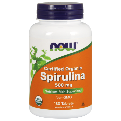 NOW FOODS -Spirulina 500 mg, Organic - 180 Tablets