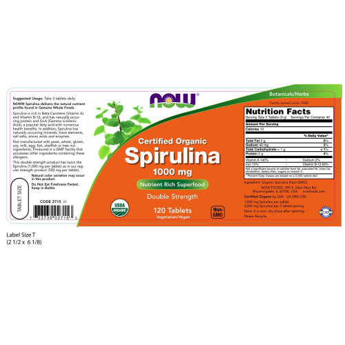 NOW FOODS -Spirulina 1,000 mg Organic - 120 Tablets