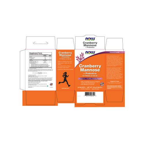 NOW FOODS -Cranberry Mannose + Probiotics - 24 Packets per Box