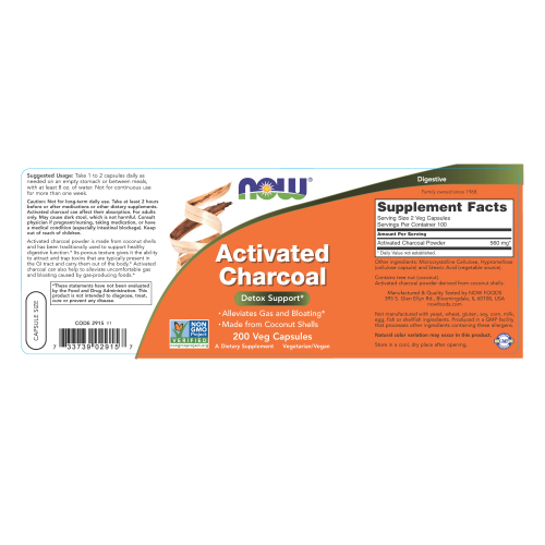 NOW FOODS -Activated Charcoal 200 Veg Capsules
