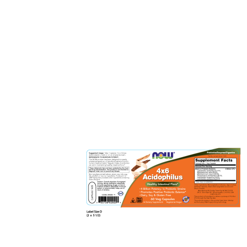 NOW FOODS -Acidophilus 4X6 - 60 Capsules