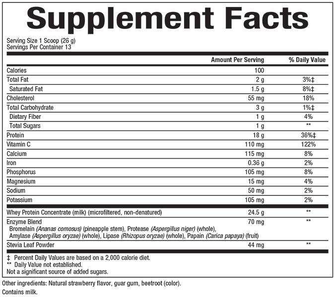 Natural Factors-Whey Factors® Powder Drink Mix Strawberry 12 OZ