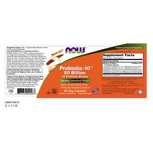 NOW FOODS -Probiotic-10™ 50 Billion - 50 Veg Capsules