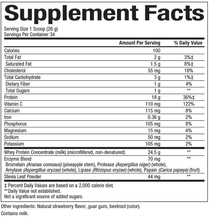 Natural Factors-Whey Factors® Powder Drink Mix Strawberry 2 LBS