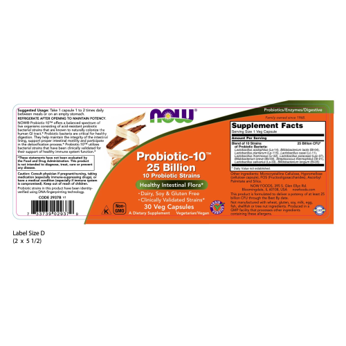 NOW FOODS -Probiotic-10™ 25 Billion - 30 Veg Capsules