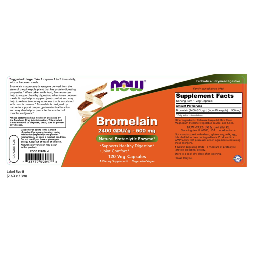 NOW FOODS -Bromelain 500 mg - 120 Veg Capsules