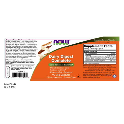 NOW FOODS -Dairy Digest Complete - 90 Veg Capsules