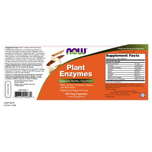 NOW FOODS -Plant Enzymes - 120 Veg Capsules