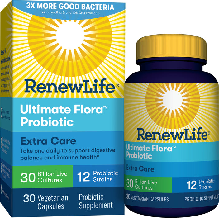 Renew Life - Ultimate Flora Extra Care Probiotic Supplement Vegetable Capsules - 30 Ct