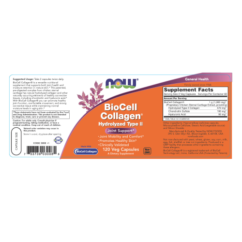 NOW FOODS -BioCell Collagen® Hydrolyzed Type II - 120 Veg Capsules
