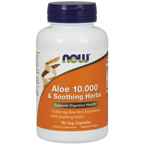 NOW FOODS -Aloe 10,000 & Soothing Herbs - 90 Veg Capsules