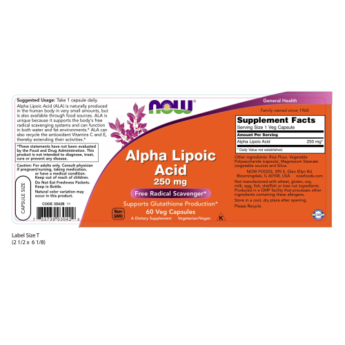 NOW FOODS -Alpha Lipoic Acid 250 mg - 60 Veg Capsules
