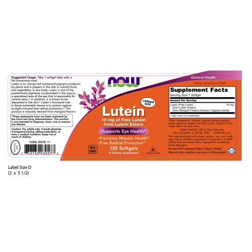 NOW FOODS -Lutein 10 mg - 120 Softgels