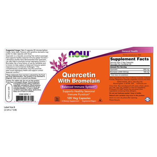 NOW FOODS -Quercetin with Bromelain - 120 Veg Capsules