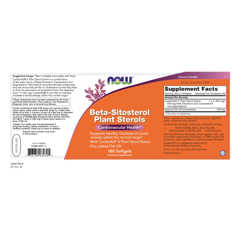 NOW FOODS -Beta-Sitosterol Plant Sterols - 180 Softgels