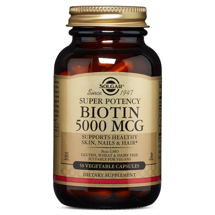 Solgar- Biotin 5000 mcg Vegetable Capsules- 50