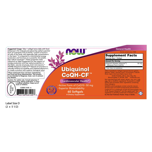 NOW FOODS -Ubiquinol CoQH-CF™ - 60 Softgels