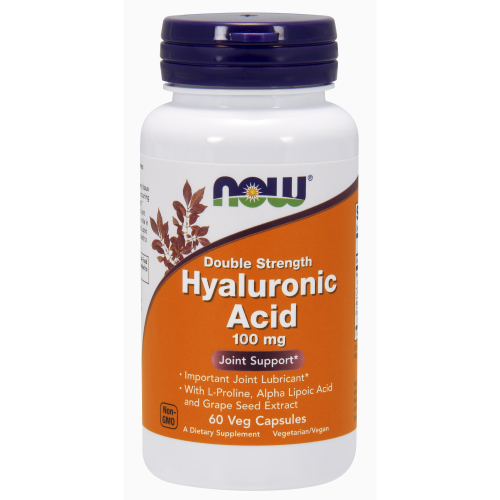 NOW FOODS -Hyaluronic Acid, Double Strength 100 mg - 60 Veg Capsules