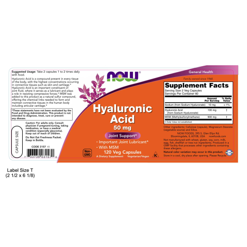 NOW FOODS -Hyaluronic Acid with MSM - 120 Veg Capsules