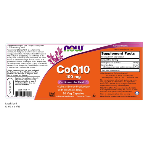 NOW FOODS -CoQ10 100 mg with Hawthorn Berry - 90 Veg Capsules