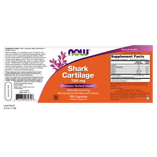 NOW FOODS -Shark Cartilage 750 mg - 100 Capsules