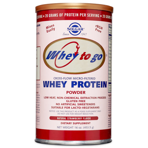 Solgar- Whey To Go® Protein Powder* Natural Strawberry Flavor- 16 oz