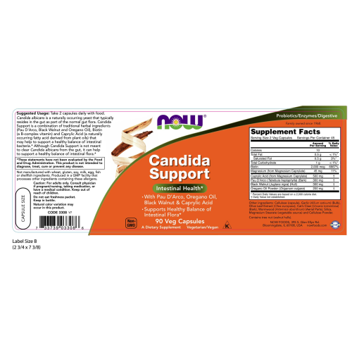NOW FOODS -Candida Support - 90 Veg Capsules
