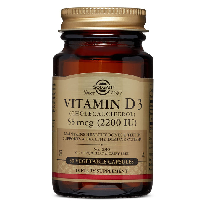 Solgar- Vitamin D3 (Cholecalciferol) 2200 IU Vegetable Capsules- 50