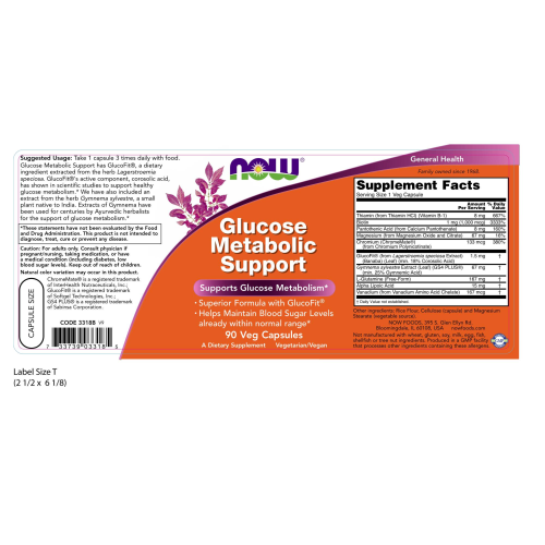 NOW FOODS -Glucose Metabolic Support - 90 Veg Capsules