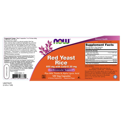 NOW FOODS -Red Yeast Rice 600 mg with CoQ10 30 mg - 120 Veg Capsules