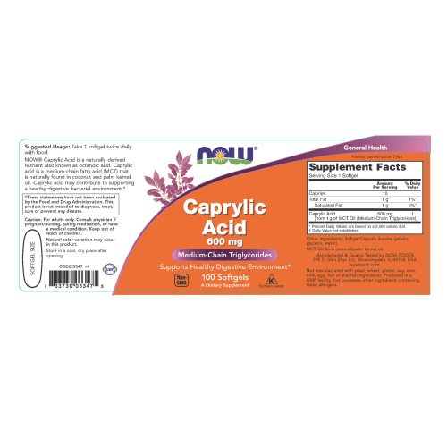 NOW FOODS -Caprylic Acid 600 mg - 100 Softgels