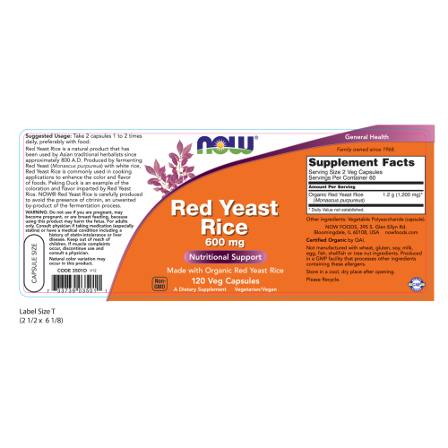 NOW FOODS -Red Yeast Rice 600 mg - 120 Veg Capsules