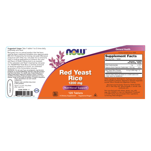 NOW FOODS -Red Yeast Rice 1200 mg - 120 Tablets